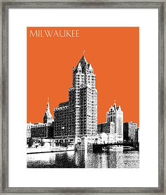 Milwaukee Skyline - 4 - Coral Framed Print