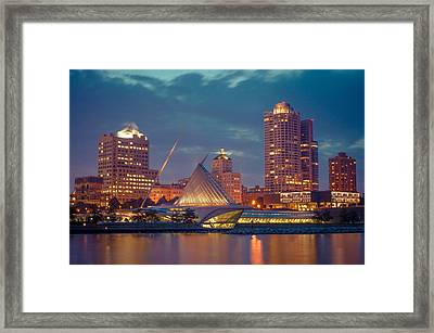 Milwaukee Skyline At Dark Framed Print