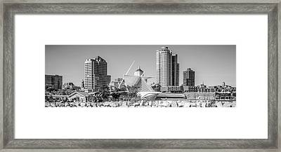 Milwaukee Skyline Panorama In Black And White Framed Print by Paul Velgos