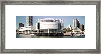 Milwaukee Skyline Panorama Photo With Discovery World  Framed Print