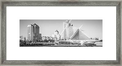 Milwaukee Skyline Panoramic Photo In Black And White Framed Print by Paul Velgos