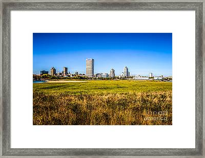 Milwaukee Skyline Photo With Lakeshore State Park Framed Print