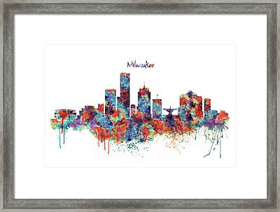 Framed Print featuring the mixed media Milwaukee Watercolor Skyline by Marian Voicu