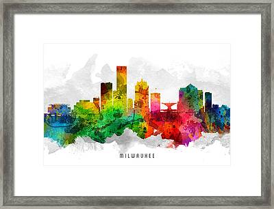 Milwaukee Wisconsin Cityscape 12 Framed Print by Aged Pixel