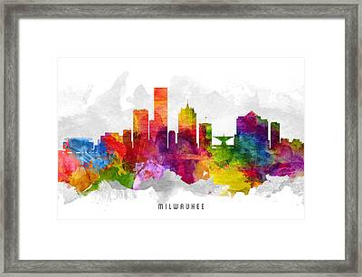 Milwaukee Wisconsin Cityscape 13 Framed Print by Aged Pixel