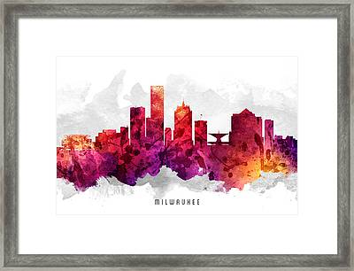 Milwaukee Wisconsin Cityscape 14 Framed Print by Aged Pixel