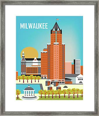 Milwaukee Wisconsin Vertical Skyline Framed Print