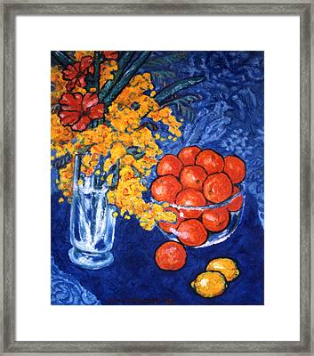 Mimosa And Tangerines Framed Print by Paul Herman