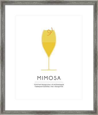 Mimosa Classic Cocktail - Minimalist Print Framed Print