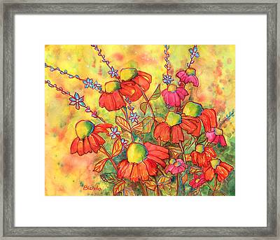 Mimosa Sky Flowers Framed Print by Blenda Studio