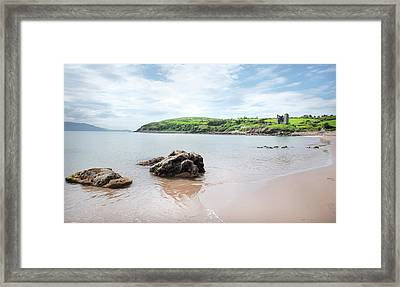 Minard Beach And Castle Framed Print