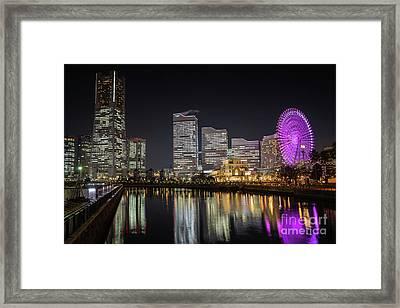 Minato Mirai At Night Framed Print