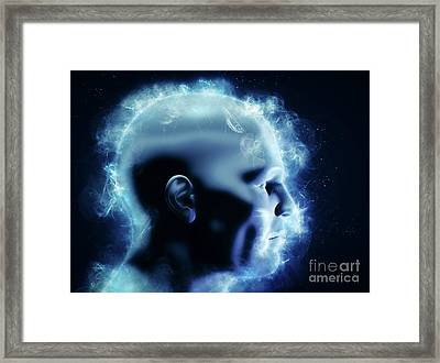 Mind, Brain Power And Energy Concept. 3d Human Head With Glowing Abstract Shapes Framed Print