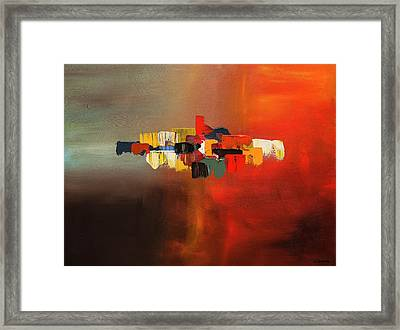 Framed Print featuring the painting Mindful - Abstract Art by Carmen Guedez