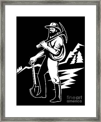 Miner With Pick Axe And Shovel  Framed Print