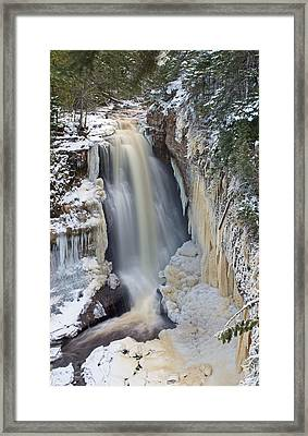 Miners Falls In The Snow Framed Print by Gary McCormick