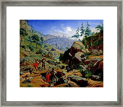 Miners In The Sierras Framed Print by Charles Christian Nahl