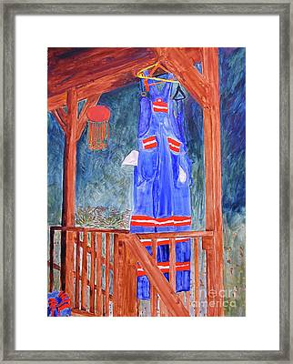 Framed Print featuring the painting Miner's Overalls by Sandy McIntire