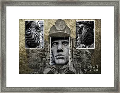 Miners Triptych Framed Print