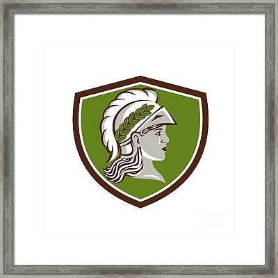 Minerva Head Crest Retro Framed Print by Aloysius Patrimonio