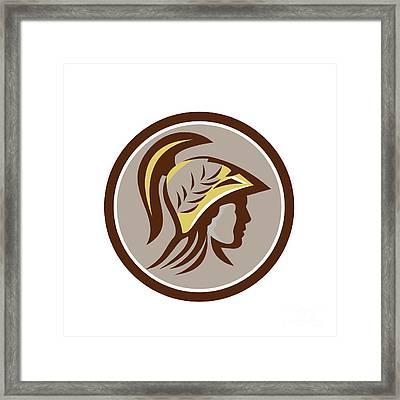 Minerva Head Helmet Circle Retro Framed Print by Aloysius Patrimonio
