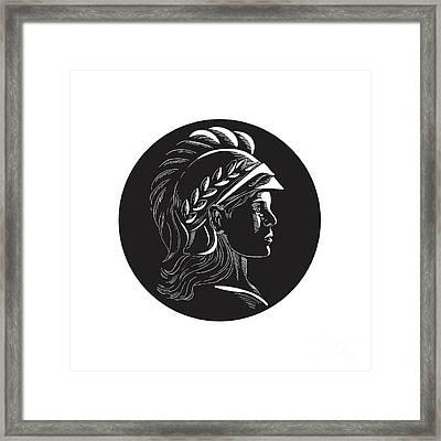 Minerva Head Side Profile Oval Woodcut Framed Print by Aloysius Patrimonio
