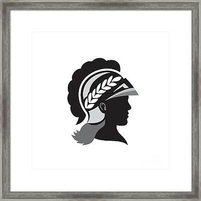 Minerva Head Side Silhouette Retro Framed Print by Aloysius Patrimonio