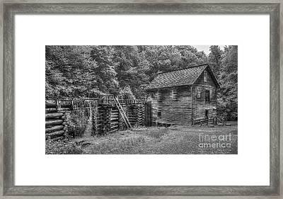 Mingus Mill Black And White Mingus Creek Great Smoky Mountains Art Framed Print by Reid Callaway