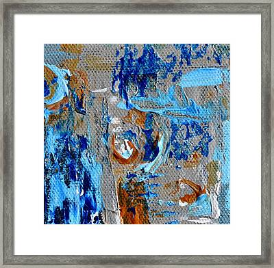 Mini Abstract In Blue Framed Print by Beverley Harper Tinsley