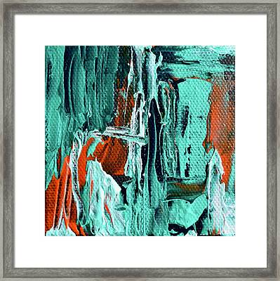 Mini Abstract In Green Framed Print by Beverley Harper Tinsley