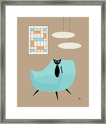 Mini Abstract With Blue Chair Framed Print