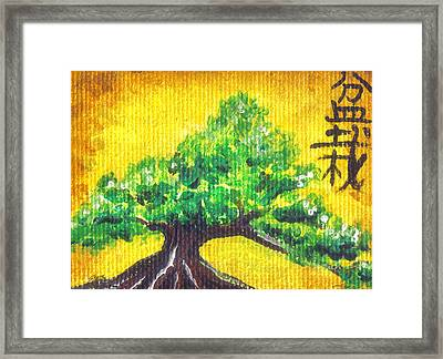 Framed Print featuring the painting Mini Bonsai by Shawna Rowe