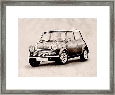 Mini Cooper Sketch Framed Print by Michael Tompsett