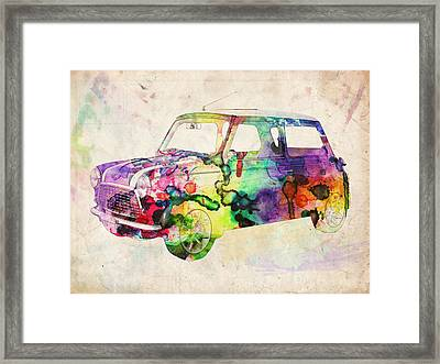 Mini Cooper Urban Art Framed Print by Michael Tompsett