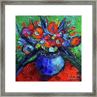 Mini Floral On Red Round Table Framed Print by Mona Edulesco