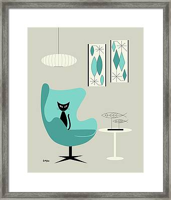 Mini Gravel Art On Gray With Black Cat Framed Print