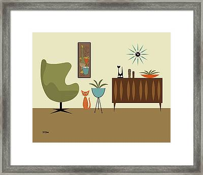 Mini Gravel Art With Orange Cat Framed Print