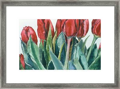 Mini-valentine Tulips - 2 Framed Print by Caron Sloan Zuger