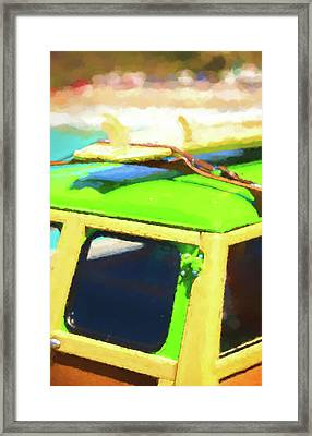 Mini Woody And Surfboard Watercolor Framed Print