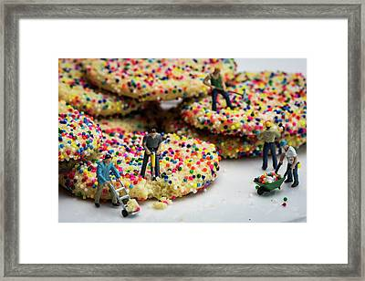 Miniature Construction Workers On Sprinkle Cookies Framed Print