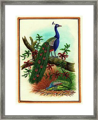 Miniature Painting India Artwork Artist Art Gallery Bird Watching Forest Tree, Watercolor Painting Framed Print by M B Sharma