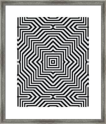 Minimal Geometrical Optical Illusion Style Pattern In Black White T-shirt  Framed Print