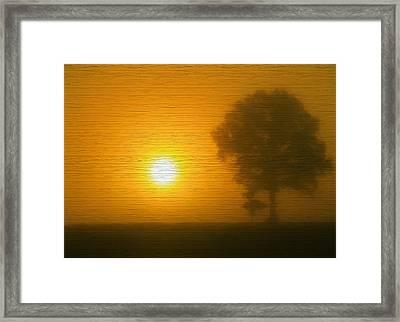 Minimalism Sunset On Wood Framed Print