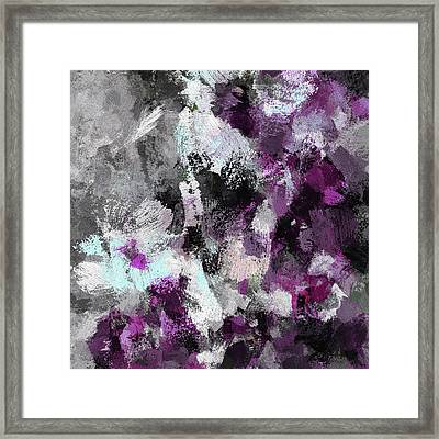Minimalist And Modern Abstract Painting In Purple Color Framed Print
