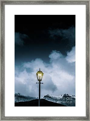 Minimalist Cold Winter Lamppost Framed Print by Jorgo Photography - Wall Art Gallery