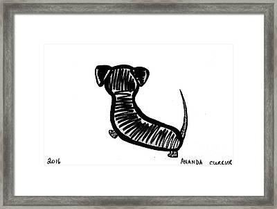 Minimalist Dachshund Drawing Framed Print