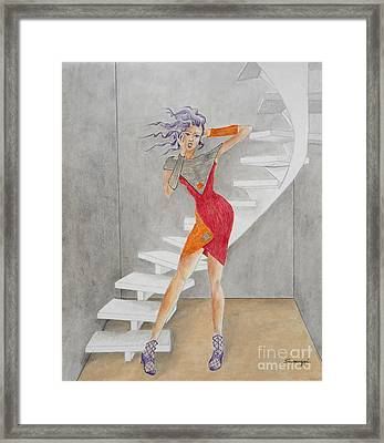 Minimalist Madness -- Whimsical Fashion Drawing Framed Print