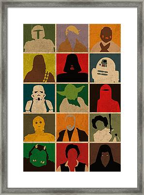 Minimalist Star Wars Character Colorful Pop Art Silhouettes Framed Print