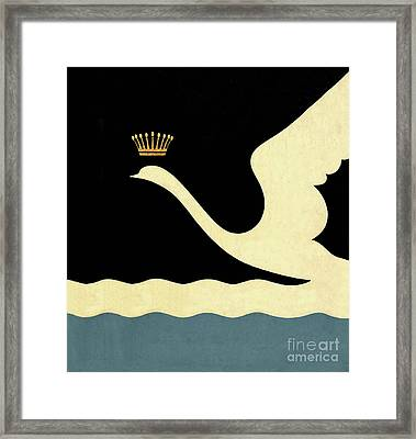 Minimalist Swan Queen Flying Crowned Swan Framed Print by Tina Lavoie
