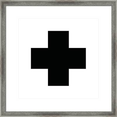 Minimalist Swiss Cross Pattern - Black On White Framed Print